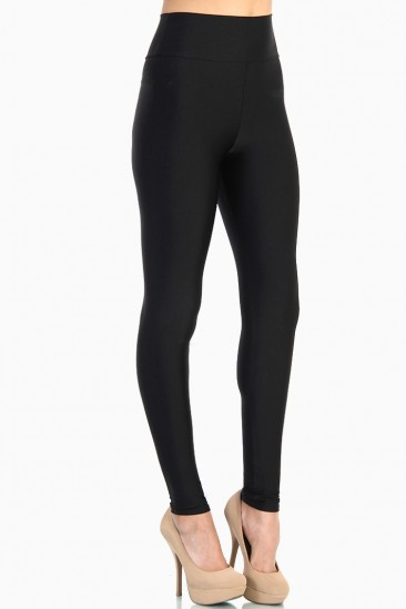 LoveMelrose.com From Harry & Molly | Shiny Tricot High Waist Leggings - Black