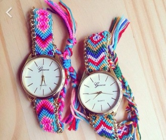 jewels watch pink gold bue red white green purple yellow accessories fashion beautiful native boho bohemian hippie gypsy etnic homemade native american geneva