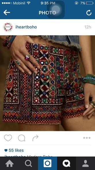 shorts banjara indian ibiza boho short handmade bohemian bohostyle
