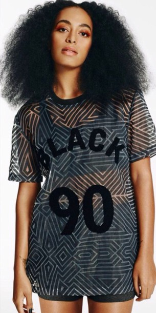 shirt black black shirt solange knowles see through top