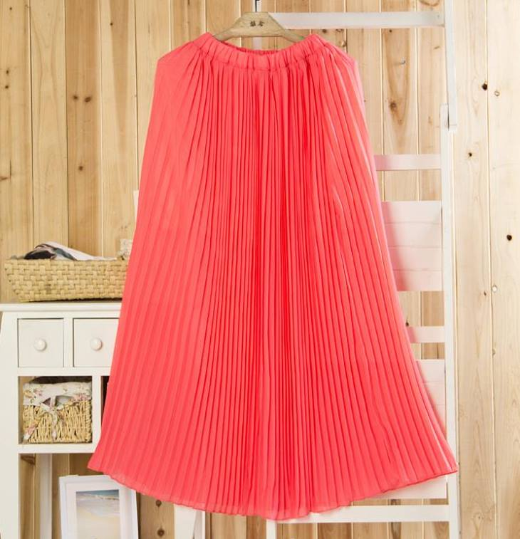 Neon coral pink pleated chiffon full length maxi skirt