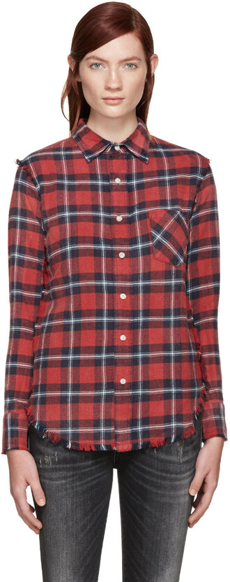 shirt plaid red top