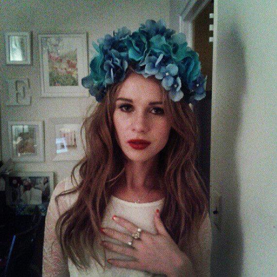 Blue lana del rey flower crown by msaheadbands on etsy