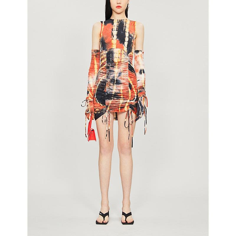 Abstract-print stretch-cotton and silk-blend dress