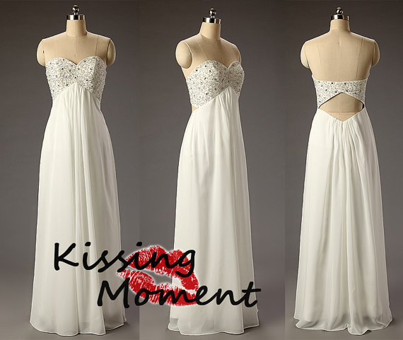Gorgeous empire ivory sweetheart aline prom dress by kissingmoment
