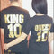 King and queen shirts, matching couple shirts with names on the front, golden text, king queen shirt, queen king tshirts, royalty shirts