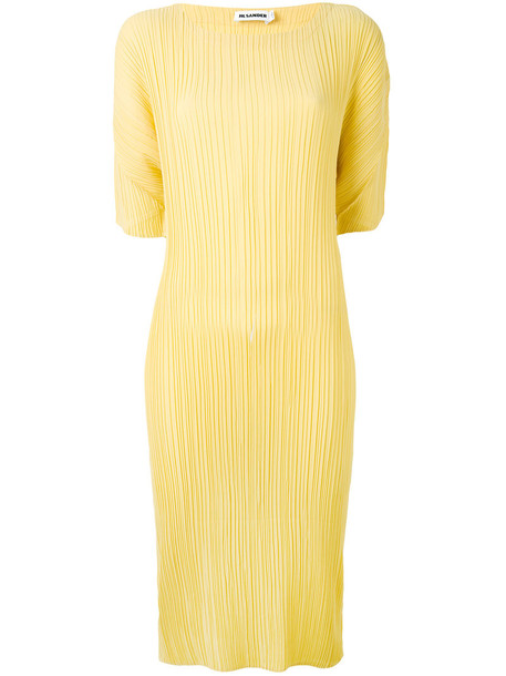 dress pleated dress pleated women yellow orange