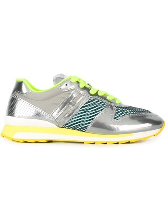 mesh sneakers lace metallic shoes