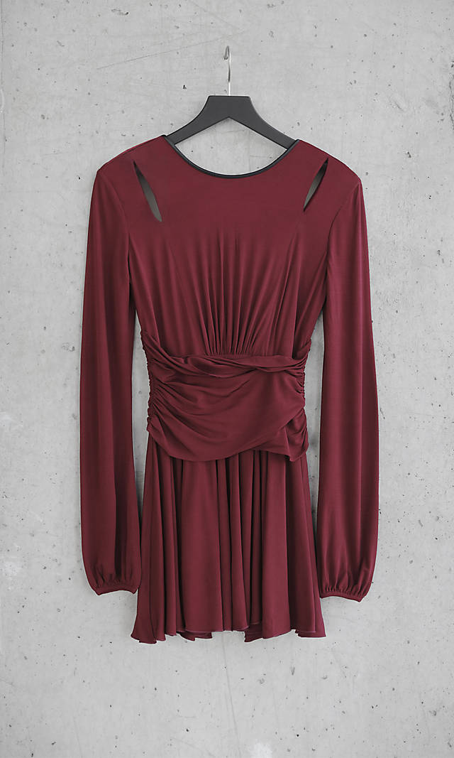 Red Express Edition Shirred Fit And Flare Dress From Express