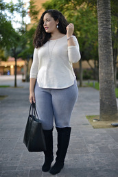 girl with curves,blogger,top,jeans,bag,curvy,jumper,jewels,knee high boots,tote bag,plus size,plus size jeans,plus size top