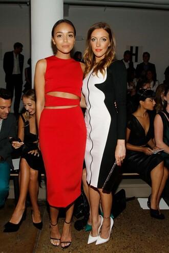 dress red dress black and white dress ashley madekwe katie cassidy fashion week 2014