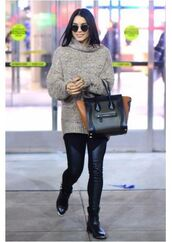 shoes,boots,vanessa hudgens,sweater,fall outfits,purse,leggings