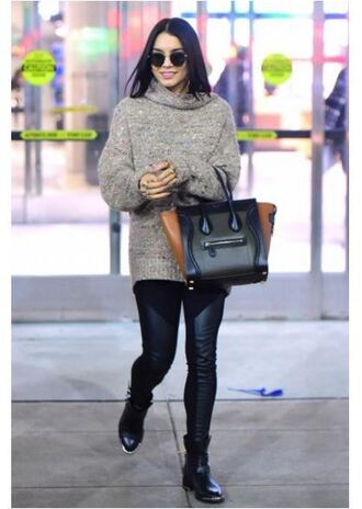 shoes boots vanessa hudgens sweater fall outfits purse leggings
