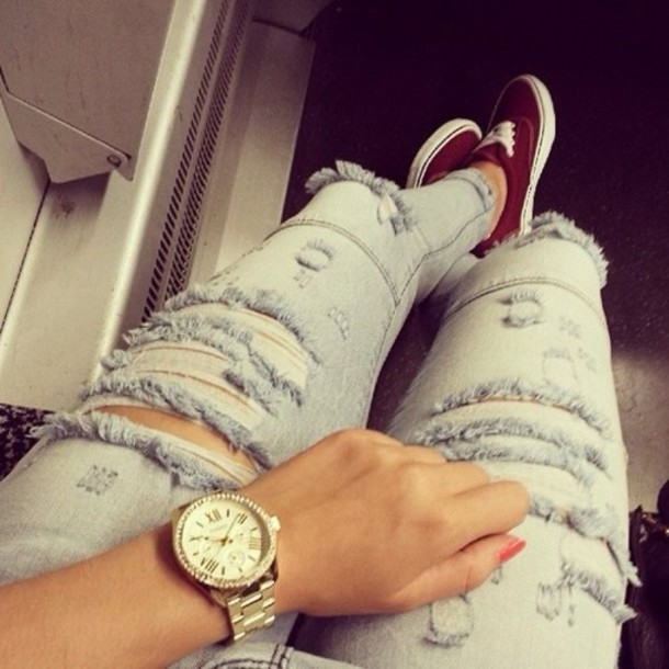 jeans beautiful vans watch ripped jeans jewels shoes