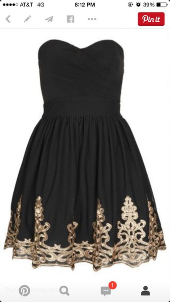 dress black dress gold detaill black dress party dress strapless dress