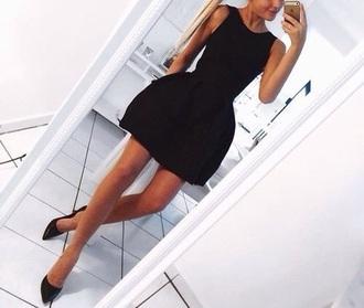 dress lbd little black puff party cute clubwear