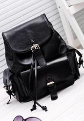 bag,leather backpack,school bag,black,buckled