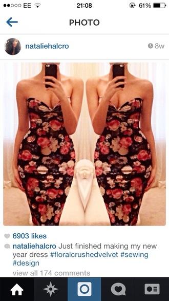 dress maxi dress floral kim kardashian kim kardashian bodycon dress tube dress roses strapless boob