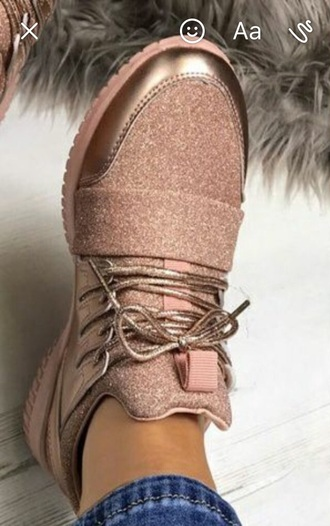shoes rose gold sneakers trainers pink glitter