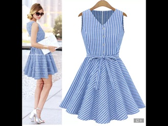 dress white blue vertical stripes