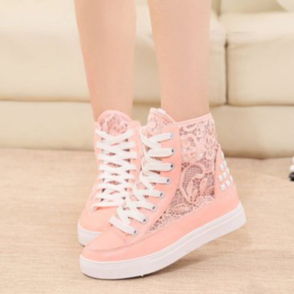 shoes high top lace up platform sneaker