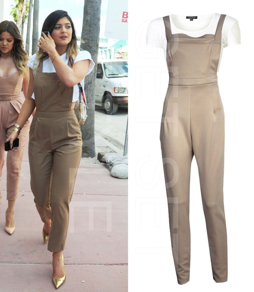 Ladies 2 Peice Celebrity Kylie Jenner Pinafore Jumpsuit w Cute White Cropped Top