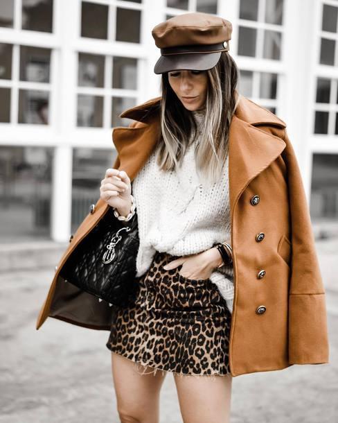 jacket wool jacket mini skirt denim skirt leopard print sweater knitted sweater handbag fisherman cap