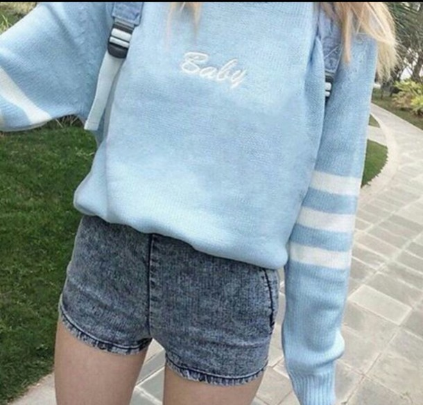 sweater, baby blue, tumblr outfit - Wheretoget