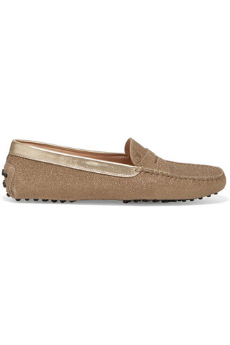 loafers gold leather shoes