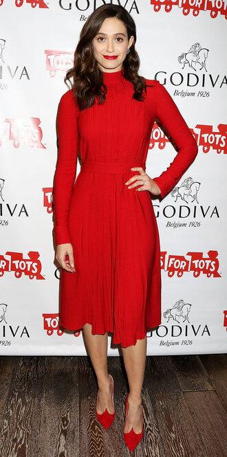 dress pumps red dress red shoes midi dress emmy rossum turtleneck turtleneck dress