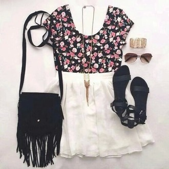 top skirt sunglasses shoes sandals bag jewels jewelry floral
