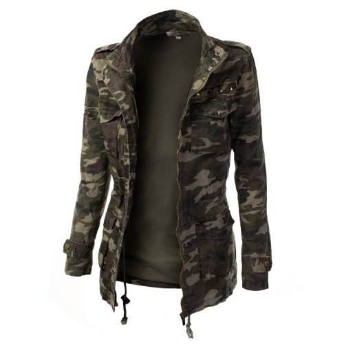 Buy discount 9xis women's camo military cotton drawstring jacket with studs reviews