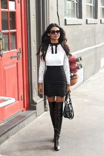 tuolomee blogger sunglasses lace dress black and white dress dress shoes bag bachelorette party outfits party dress party outfits thigh high boots over the knee boots boots black boots black and white white lace black lace