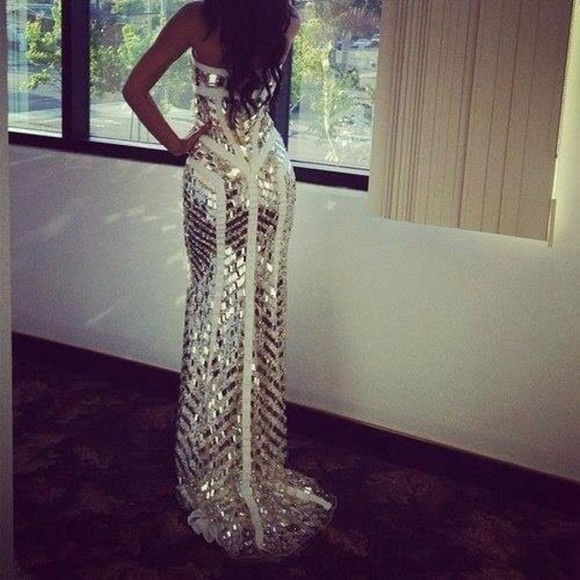 dress white and gold dress white dress sequin dress gold white gold dress maxi dress mermaid prom dresses