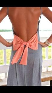 dress,peach bow dress,maxi,maxi dress,open back,open back dresses,cotton,spaghetti strap