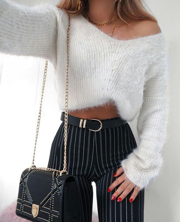 sweater entire outfit please!!! jeans black trousers pinstripe pants stripped pants furry sweater white black fitted pants shirt blue black stripes cute tight skinny jeans high waisted belt funny sweater light blue navy white white sweater striped pants