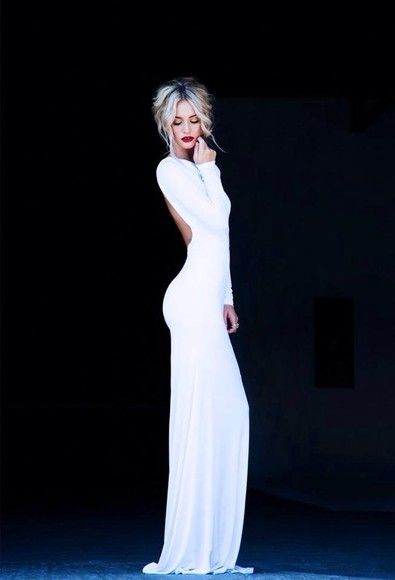 dress white dress long sleeved dress prom open back dresses long prom dresses figure hugging long white sleeved dress.