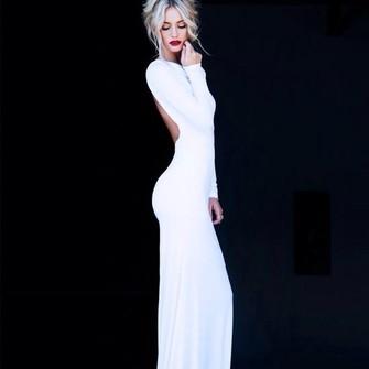 long dress lowback long prom dress white prom dress bodycon prom dress ...