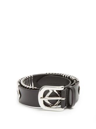 belt waist belt leather silver black