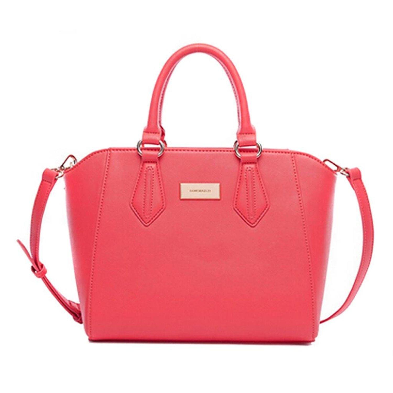 Hee grand women solid color pu leather handbag messenger bag hot pink: handbags: amazon.com