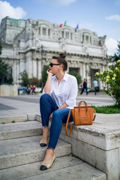 covering bases curvy blogger jeans sunglasses jewels orange bag fall outfits ballet flats
