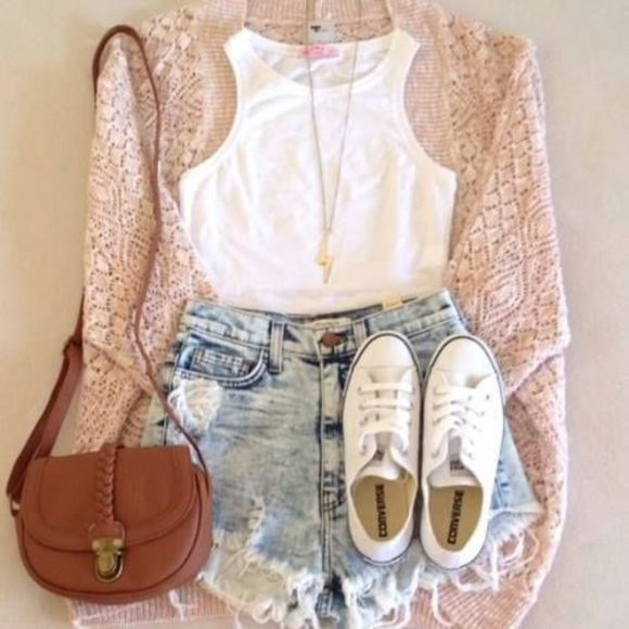 cardigan sweater jacket shoes bag lace pink shorts denim shorts denim shorts and white crop top shirt white top lightning bolt necklace