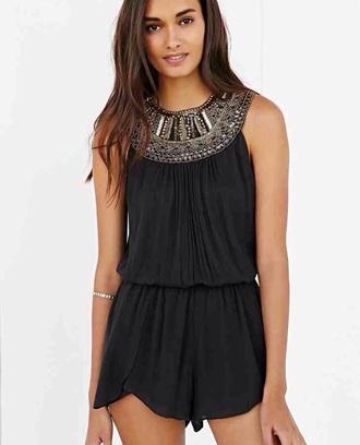 romper black beading fashion style