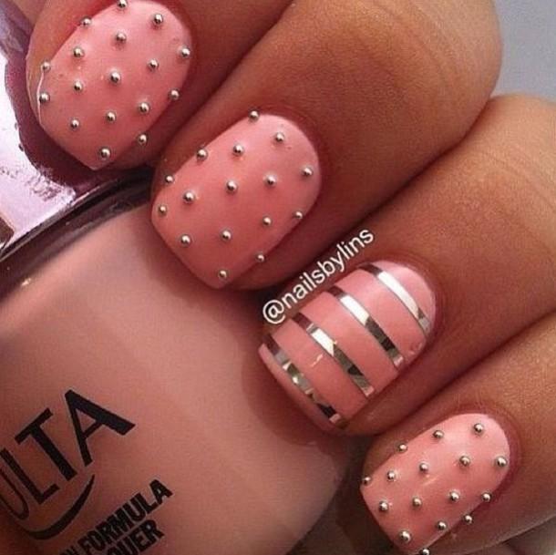 nail accessories nails by lins hair accessory pink nail polish nail art silver
