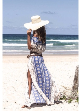 dress sundress blue blue and white hippie boho beach summer hat bohemian bohemian dress boho chic sun hat pattern patterned dress maxi dress maxi skirt waist belt belted dress