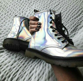 shoes silver metallic cute black sole shiny drmartens