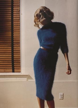 skirt fur navy midi skirt crop tops fluffy dress haute couture model classy blonde hair gorgeous blue soft dress knee