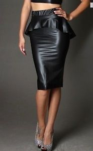 Plus Size Black Faux Leather High Waist Peplum Knee Length Pencil MIDI Skirt 2X | eBay