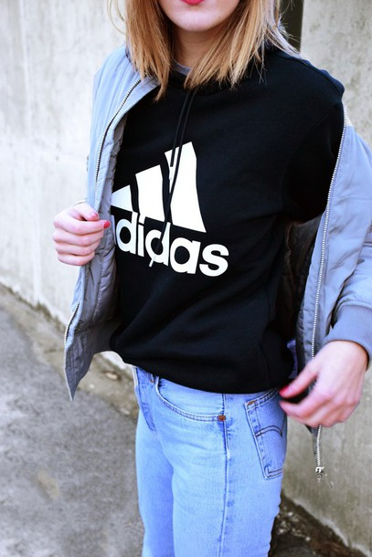 top, tumblr, hoodie, adidas, sweatshirt, black sweatshirt ...