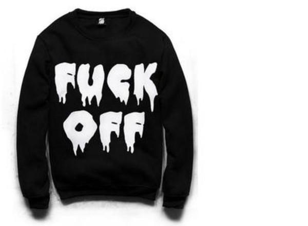 sweater fuck off black white crewneck pullover black sweater